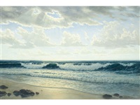 sunlit coastal waves by josef m. arentz