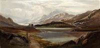 highland loch scene (+ another similar; pair) by charles leslie
