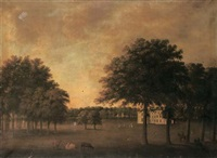 a georgian country house in a parkland, with figures, dogs and cattle in the foreground by maria spilsbury