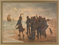 coastal scene with figures by pieter cornelis kramer
