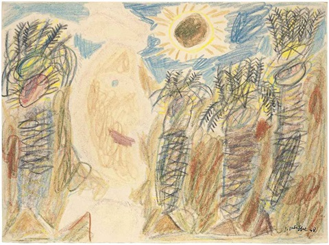 arabe et palmiers sous le soleil arab and palm trees under the sun by jean dubuffet