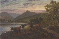 cattle on the water's edge at brodick, arran by albert dunnington