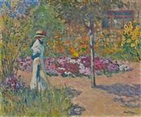 élégante au jardin by louis abel-truchet