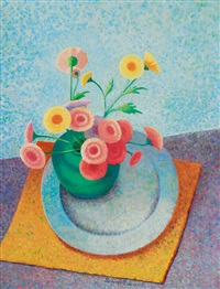 still life with flowers and a dish by maria swartwout de hoog