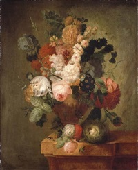 roses, carnations, a tulip and other flowers in a sculpted urn with a bird's nest on a marble ledge by pieter faes