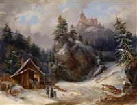 begegnung in winterlandschaft unter einer burgruine by joseph altenkopf