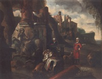 figures in oriental costume inspecting classical ruins by jacques (jacob) müller