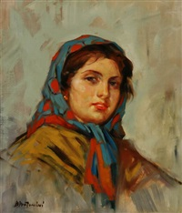 portrait of a young peasant woman by dante antonini