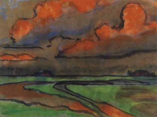 marschlandschaft unter roten wolken, utenwarf by emil nolde