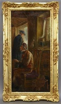 interior scene with two men by john faed