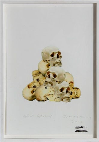 sad skulls by tony matelli
