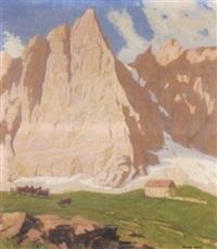 falkenhütte am fuße der laliderer-nordwand im karwendel by oswald hengst