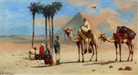 middle eastern scenes with figures on camels (pair) by john coulson
