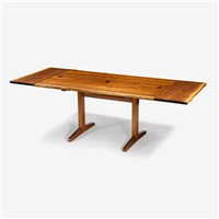 trestle dining table with two leaves, 1960 by george nakashima