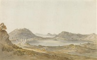 lake avernus, looking towards the island of capri by william marlow