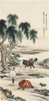 马 晋(1899-1970) 柳荫牧马 by ma jin
