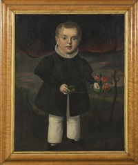 full-length portrait of a young boy in a ruffed collar and dark coat holding a bunch of red roses by william matthew prior