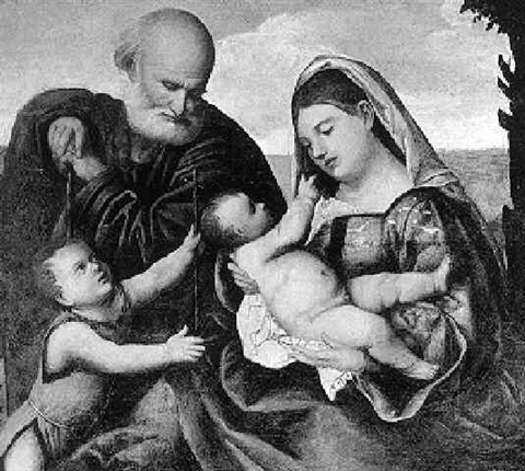 the holy family with the infant st john the baptist by bernardino licinio