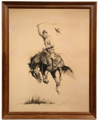 a running bucker by frederic remington