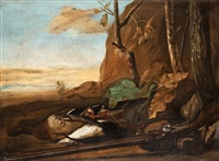 still life with ducks and a rifle by govert dircksz camphuysen