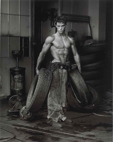 fred with tires, the body shop, los angeles by herb ritts