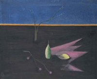 still life with a landsacpe by craigie aitchison