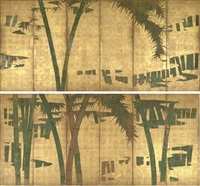 bamboo forest in the mist (pair of six-panel screens) by japanese school-kano (17)