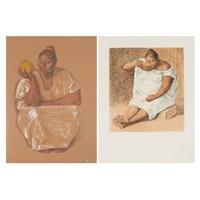 mujer con maranja; mujere bebiendo (2 works) by francisco zúñiga