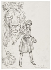 dorothy and the cowardly lion (study from the wizard of oz by l. frank baum) by charles santore