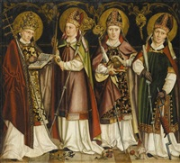 four saint bishops, including st. nicholas of bari and st. erasmus by german school-cologne (16)