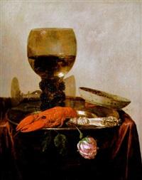 stilleben mit gefülltem weinglas, hummer und einer rose by abraham susenier