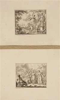 two gentlemen greeting each other warmly; beggar with family supplicating to military officer; two religious allegories (4 works) by jan bulthuis