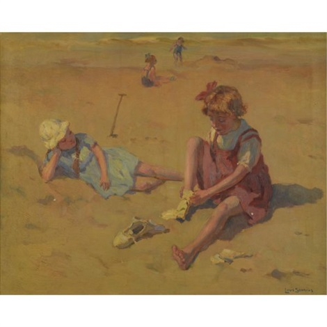 children at the beach by louis soonius