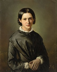 portrait of a young woman by french school
