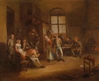 bäuerliches interieur mit zahlreichen personen by egbert van heemskerck
