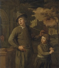 a man carrying a stick and kindling crossing a town bridge with his son by christoffel lubieniecki
