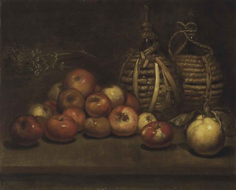 wine bottles with apples and a quince by italian school northern 19