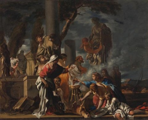 king solomon sacrificing to the idols by sébastien bourdon