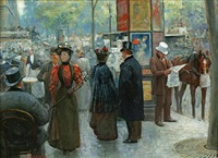 elegant figures by an outdoor cafe on a parisian street by louis rémy sabattier
