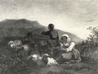 peasants with sheep and goats resting in a landscape by adam louisz colonia