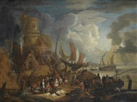 fishermen in boats approaching the shore with their catch, with a village in the distance; and a fishmarket (2 works) by lucas smont the younger