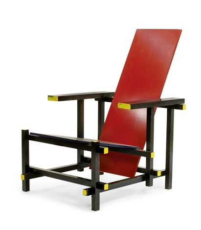 fauteuil model red blue chair by gerrit thomas rietveld