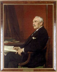 portrait of sir gerald hemmington ryan, bt., seated at a desk by william samuel henry (sir) llewellyn