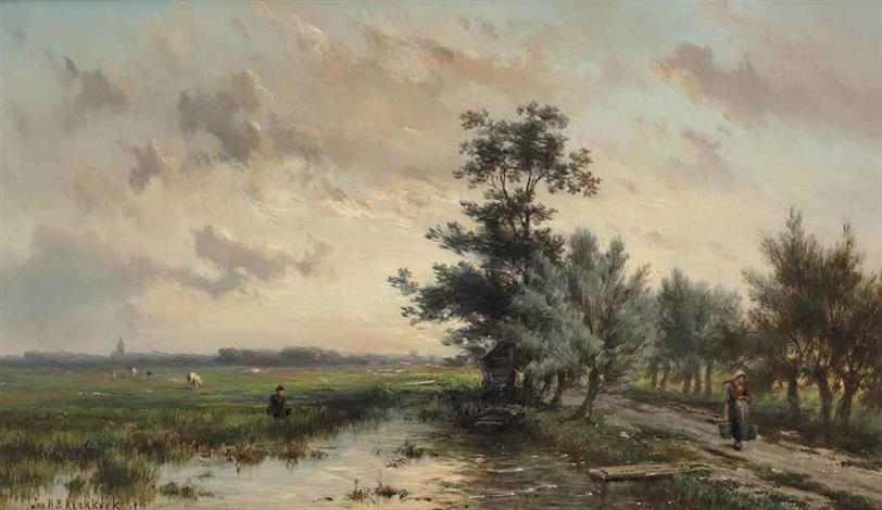 by a river stream by johannes hermanus barend koekkoek
