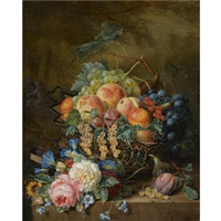 a still life with fruit and flowers by adriana van ravenswaay