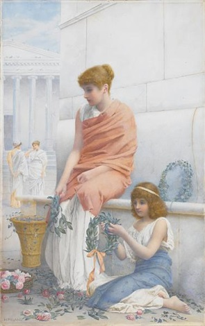 a woman and child making wreaths by henry ryland
