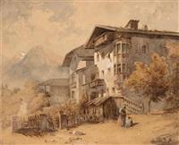 südtiroler häuser mit blick ins hochgebirge (+ wehrturm mit blick ins hochgebirge ; 2 works) by gustav von gasteiger