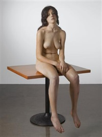 brunette sitting on table by john deandrea