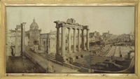 a large photographic view of the forum, rome by james anderson