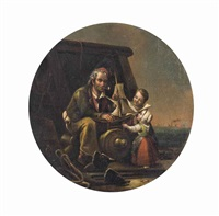 a father presenting a model ship to his children by william mulready